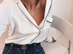 pajama blouse and gucci belt