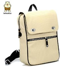 Stylish Korean Square PU Casual Backpacks White For Girls