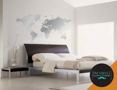 World Map Vinyl Wall Decal MAP003 by PMVinyls on Etsy