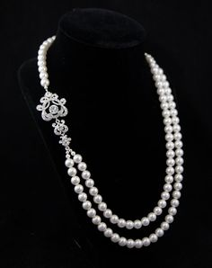 Bridal  Pearl Necklace  Vintage L' Amour by GlamHouse on Etsy, $60.00