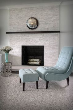 Floor-to-ceiling tile fireplace surround in our Lincoln model home ...