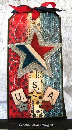 Patriotic tag by Linda Cain