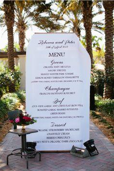 A Giant paper dinner menu -so fun! Photographed by top wedding photographers Kallima Photography | junebugweddings.com