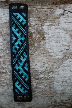 Loom beaded genuine leather cuff bracelet with by SarmasZvirgzdi