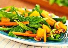 Top Thai Salads for Spring and Summer!: Fresh-as-Summer Tossed Greens with Fresh Mango (and Basil Dressing!)