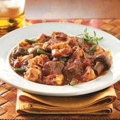 Beef & Tortellini Marinara with Green Beans Recipe from Taste of Home -- shared by Joyce Frey of Jacksville, Kansas  #slow_cooker  #crockpot
