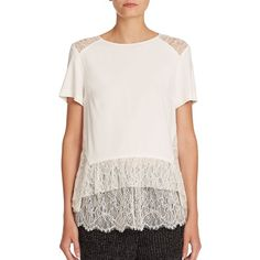 Thakoon Contract Lace-Detail Peplum Tee (13,515 MXN) ❤ liked on Polyvore featuring tops, t-shirts, apparel & accessories, natural, lace top, peplum tee, short sleeve tops, short sleeve t shirts and short sleeve pullover