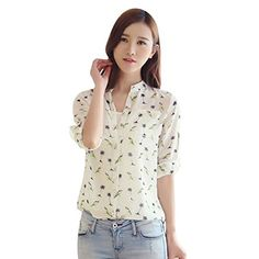 29a0e1eb727 Shouhengda Women Long Sleeve Chiffon Blouse Floral Printed Button Shirts     Check out this great
