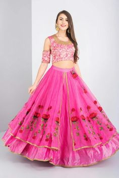 NITYA BAJAJ - pink cold shoulder style crop top and skirt