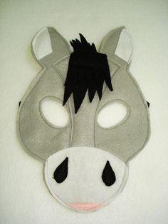Children's DONKEY Farm Animal Felt Mask by magicalattic on Etsy, $12.50
