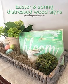 Easter and spring distressed wood signs