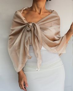 This evening dress cover-up, scarf, shawl is made with iridescent chiffon in light mocha (mauve, tan colored) color. Its design leads it to be tied easily in a proper and smart way. Its appr. 24.4 x 59.1 (62 cm x 150 cm) Its an elegant complementary evening accessory with a refined look. Produced in pet and smoke free medium.  Ready to ship!  Back to store MammaMiaEMe: http://www.etsy.com/shop/mammamiaeme  Thanks for looking MammaMiaEMe
