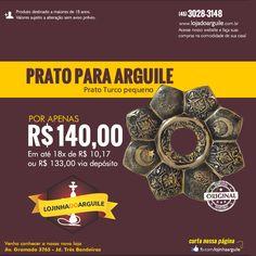 Prato Turco pequeno POR APENAS R$ 140,00 Em até 18x de R$ 10,17 ou R$ 133,00 via depósito Compre Online: http://www.lojadoarguile.com.br/prato-turco-pequeno