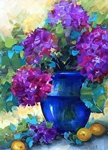Violet Horizon Purple Hydrangeas by Nancy Medina Oil ~ 16 x 12