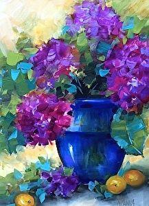 Violet Horizon Purple Hydrangeas by Nancy Medina Oil ~ 16 x 12