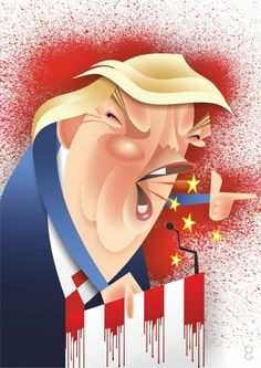 Digital caricature of Donald Trump by Spot On George, available for publication. Other illustrations and caricature commissions undertaken
