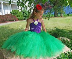 Little Mermaid Tutu Dress With Real Shell Clip and Red Daisy Hair Clip - Sizes 2T to Girls 6 by KenziesTreasures on Etsy