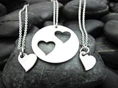 Mother Daughter 3 Piece Heart Necklace Set by ShawnaLaneCreations