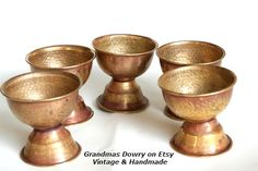 Brass Metal Egg Cups Antique Egg cup set of 5 by GrandmasDowry