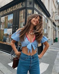 """DANNIJO on Instagram: """"I'll take what she's having 🌈 😃 @maralafontan in the Nana necklace #dannijogirls"""" Khloe Kardashian Style, Parisian Style, Crochet Top, Style Me, Summer Outfits, Couture, Crop Tops, Stylish, How To Wear"""