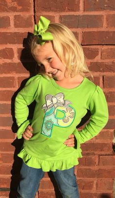 A personal favorite from my Etsy shop https://www.etsy.com/listing/252856219/ruffled-long-sleeve-monogrammed-with-bow
