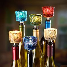 Mosaic Tealight Holders Make a Unique Wine Bottle Centerpiece