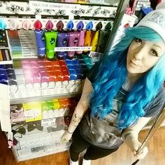 Yummy! ♥ #haircolour #bright #colours #hairstyle #shokkiväri #crazycolor #renbow #colorscream #stargazer #rainbow #hairchalck #alternativefashion #hairextensions #eyelashes #makeup #bluehair #turquoisehair #mermaidhair #ombrehair #piercedgirls #angelbites #septum #selfiestick #cybershop #cybershopkamppi #kamppi Eyelashes Makeup, Turquoise Hair, Piercings For Girls, Stargazer, Crazy Colour, Selfie Stick, Mermaid Hair, Bright Colours, Ombre Hair