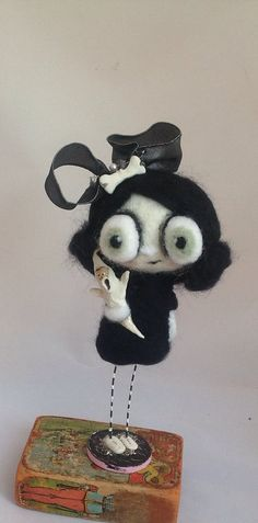 Gina and her Ghost ooak art doll by papermoongallery