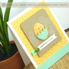 handmade Easter card from Paper Trey Ink ... chubby chick in broken Easter egg ... cheerful yellow, aqua and kraft ... delightful!!