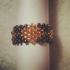 gold & gunmetal diamonds - beaded ring (brick stitch)