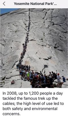 2017. You have to register with the Park Rangers to do this hike. The overcrowding on the Half Dome trail made the hike dangerous. Yosemite National Park, California.