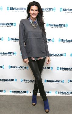 Angie Harmon casual & leather