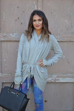 slouchy sweater + floral denim + michael kors selma satchel