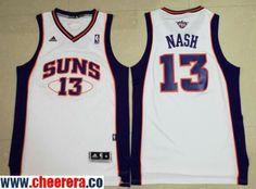 b5672f06be1 Men's Phoenix Suns #13 Steve Nash White Stitched NBA Adidas Revolution 30 Swingman  Jersey