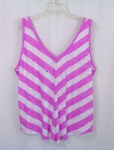 NEW Womens Plus MAURICES Purple White Striped V Front/Back Knit Tank Top SZ XXL #Maurices #TankTop #Casual