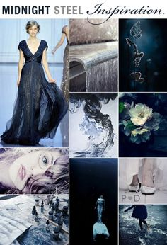 Midnight Blue and Steel Grey - as classy and classic as can be Wedding Colour Palette - Blue Bridal, Blue Wedding, Dream Wedding, Luxury Wedding, Midnight Wedding, Midnight Blue, Wedding Color Schemes, Wedding Colors, Azul Indigo