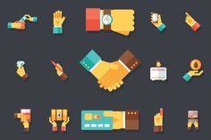 Hands Business Accessories Icons by Meilun on @creativemarket