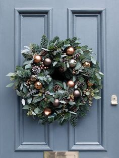 seasonal foliage cooper and mink baubles Christmas wreath
