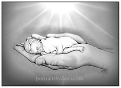 Gentle hand-drawn portraits for the pregnancy and infant loss community. Certificates of Life, Angel Baby Prints and other specialty items to honor your child. Baby Angel Tattoo, Baby Tattoos, Miscarriage Tattoo, Angel Stories, Baby Sketch, Jean Christophe, Belly Painting, Baby Drawing, Holding Baby