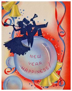 New Year Happiness! My parents would always bring home wonderful hats, horns, masks, streamers, and balloons. The of January was a special memory for me/ New Year Greeting Cards, New Year Greetings, New Year Card, Vintage Greeting Cards, Vintage Christmas Cards, Retro Christmas, Vintage Holiday, Christmas And New Year, Vintage Postcards