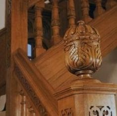 A newel post supports the handrail of a stair banister. The post at the bottom of the stairs is a newel post, but they can also be used for. Stair Banister, Banisters, Railings, Acorns To Oaks, Newel Post Caps, Acorn And Oak, New Orleans Homes, Newel Posts, Craftsman Bungalows