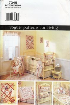 Vogue Patterns for Living Pattern 7245 - Baby Room - Bumper - Dust Ruffle - Quilt - Diaper Holder - Organizer - Noteboard - Crib Sheet. $7.50, via Etsy.