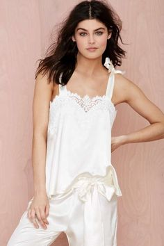 Get a little luxe in your lounge collection with this satin blouse by SKIVVIES by For Love and Lemons. Nights In White Satin, Nighty Night, Beautiful Lingerie, Latest Fashion Clothes, Night Gown, Women Lingerie, Lounge Wear, Blouses For Women, Nighties