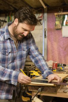Marc Wood himself busy in our rural Somerset workshop - Marc Wood Joinery  image by Paul Ligas for paulligas.com  #farmhouse #Etsy #rustic #reclaimed  #wood #interiors #UK #handmade #design #country #carpenter  #sustainable  #traditional #workshop #Somerset #MarcWoodJoinery  to find out more go to; www.facebook.com/woodbyname?ref=hl