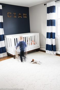 Navy And Gray Nursery An Accent Wall With Naval By Sherwin Williams