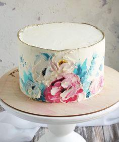 Нет описания фото. Stunning cake design Buttercream Flowers, Buttercream Cake, Pretty Cakes, Beautiful Cakes, Adult Birthday Cakes, Painted Cakes, Just Cakes, Small Cake, Breakfast Cake
