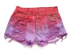 Dip dyed Lee shorts with studded pocket L by deathdiscolovesyou, $35.00