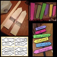 Alice in wonderland theme signs directions. I bought the untreated wood at Michaels Craft Store and paints and wrote words with a sharpie as I found writing in paint was too thick. #DIY #AliceInWonderland #TeaParty