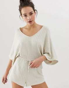 Find the best selection of ASOS DESIGN lounge ribbed short romper. Shop today with free delivery and returns (Ts&Cs apply) with ASOS! Cute Comfy Outfits, Mom Outfits, Retro Outfits, Chic Outfits, Fashion Outfits, Sleepwear Women, Pajamas Women, Asos, Short Playsuit
