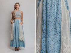 Hippie skirt Vintage bohemian 60s 70s maxi high by Raxclothing